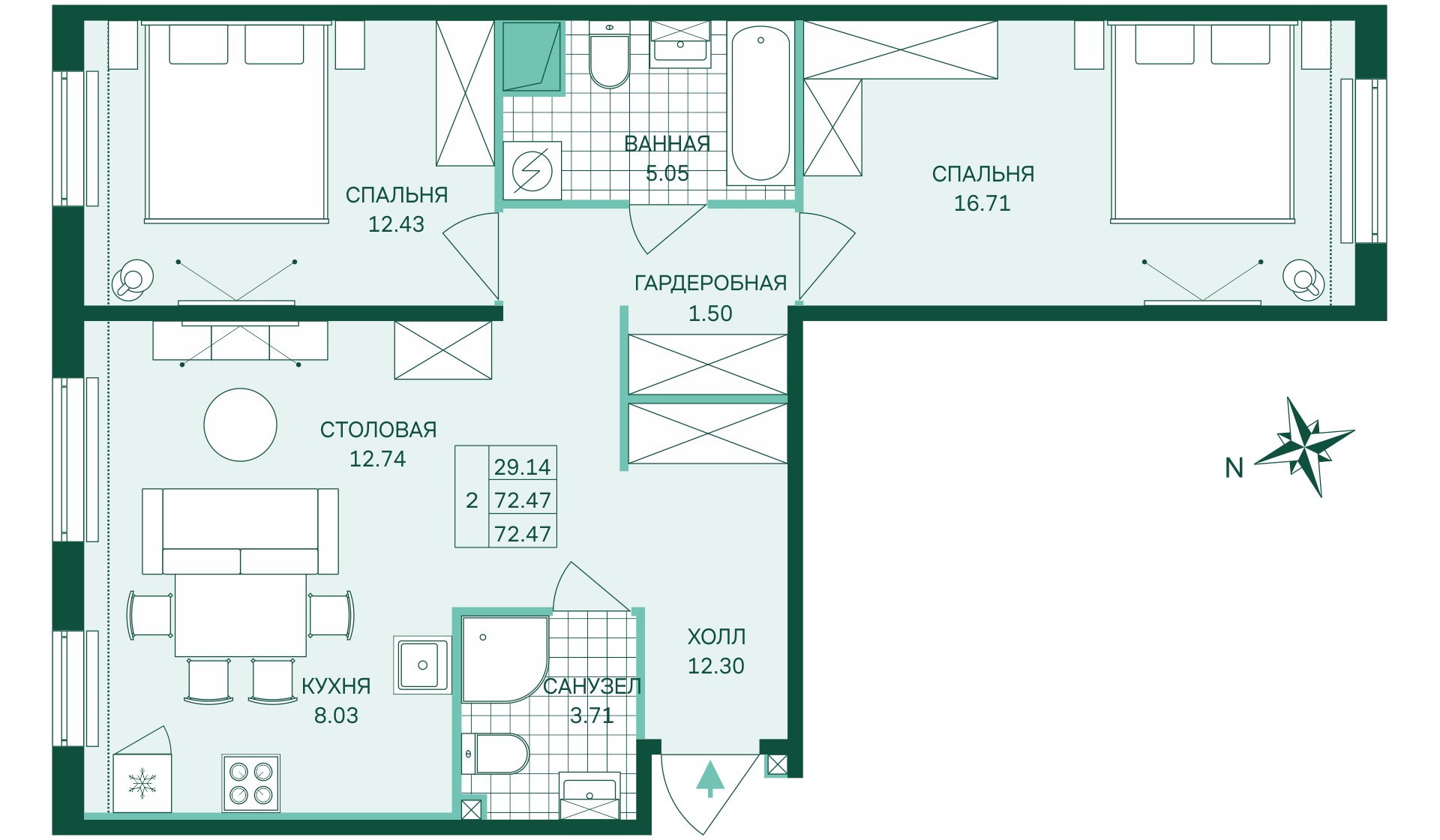 Планировка Двухкомнатная квартира площадью 72.47 кв.м в ЖК «Skandi Klubb»