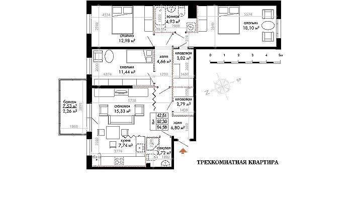 Планировка Трёхкомнатная квартира площадью 94.63 кв.м в ЖК «Skandi Klubb»