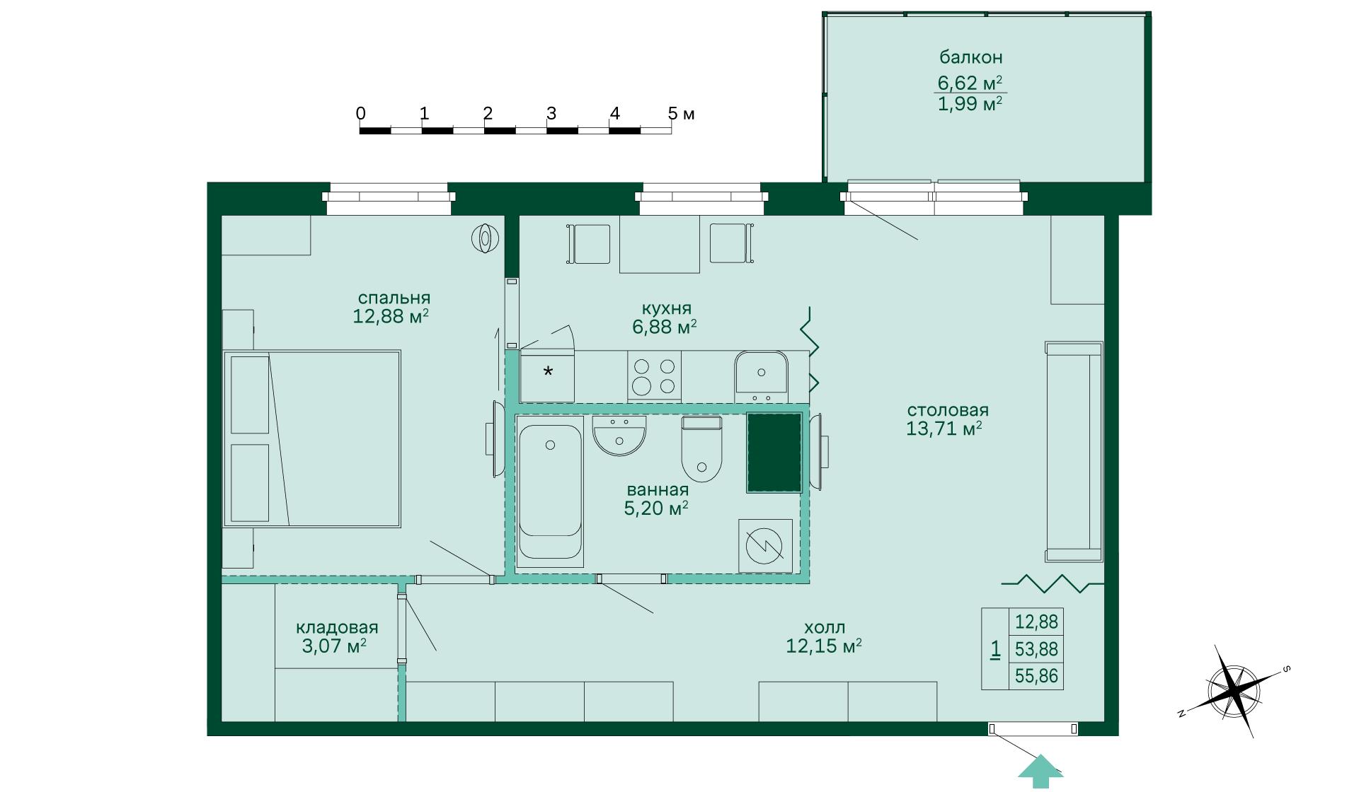 Планировка Однокомнатная квартира площадью 56.07 кв.м в ЖК «Skandi Klubb»