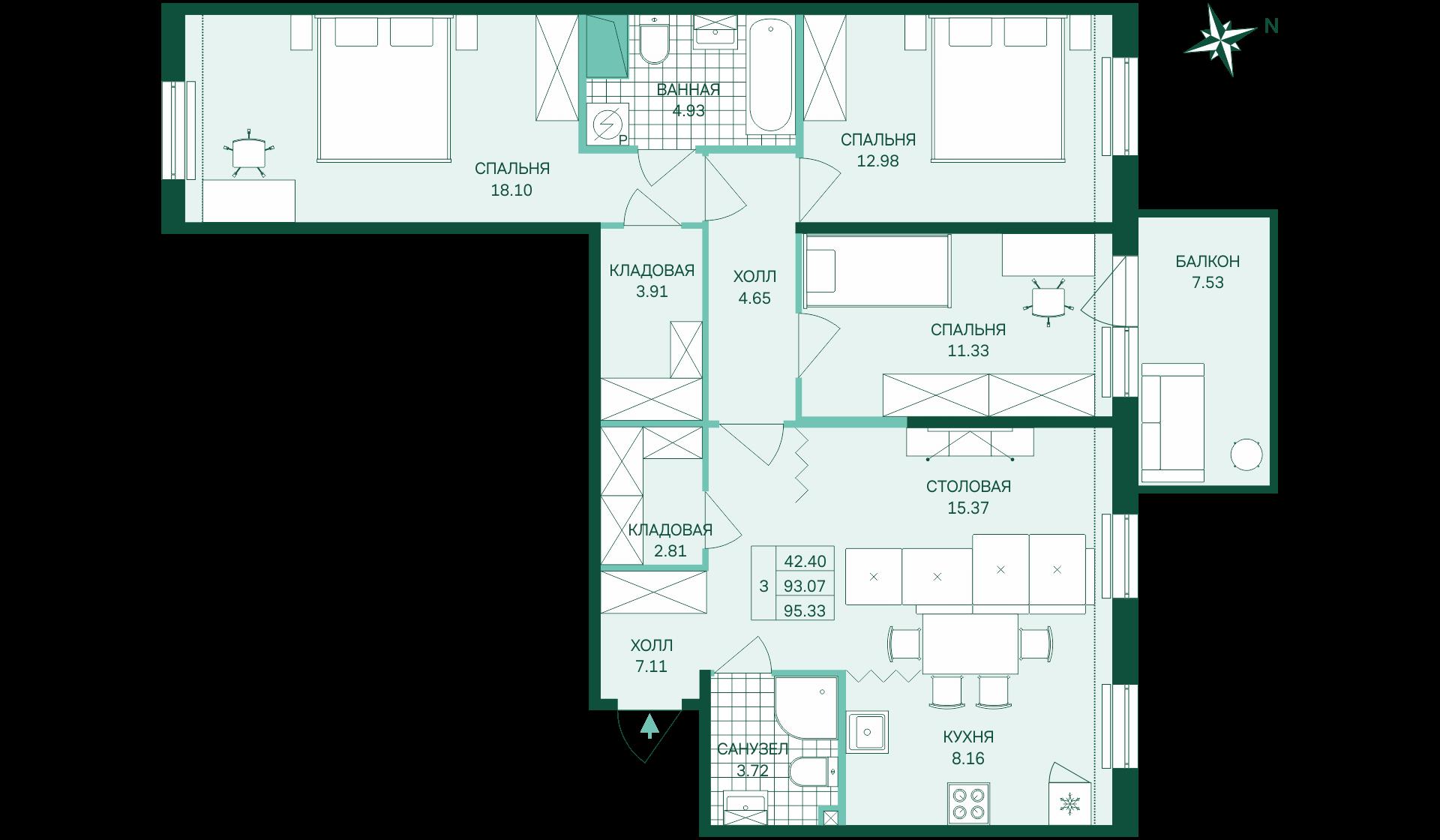 Планировка Трёхкомнатная квартира площадью 95.33 кв.м в ЖК «Skandi Klubb»