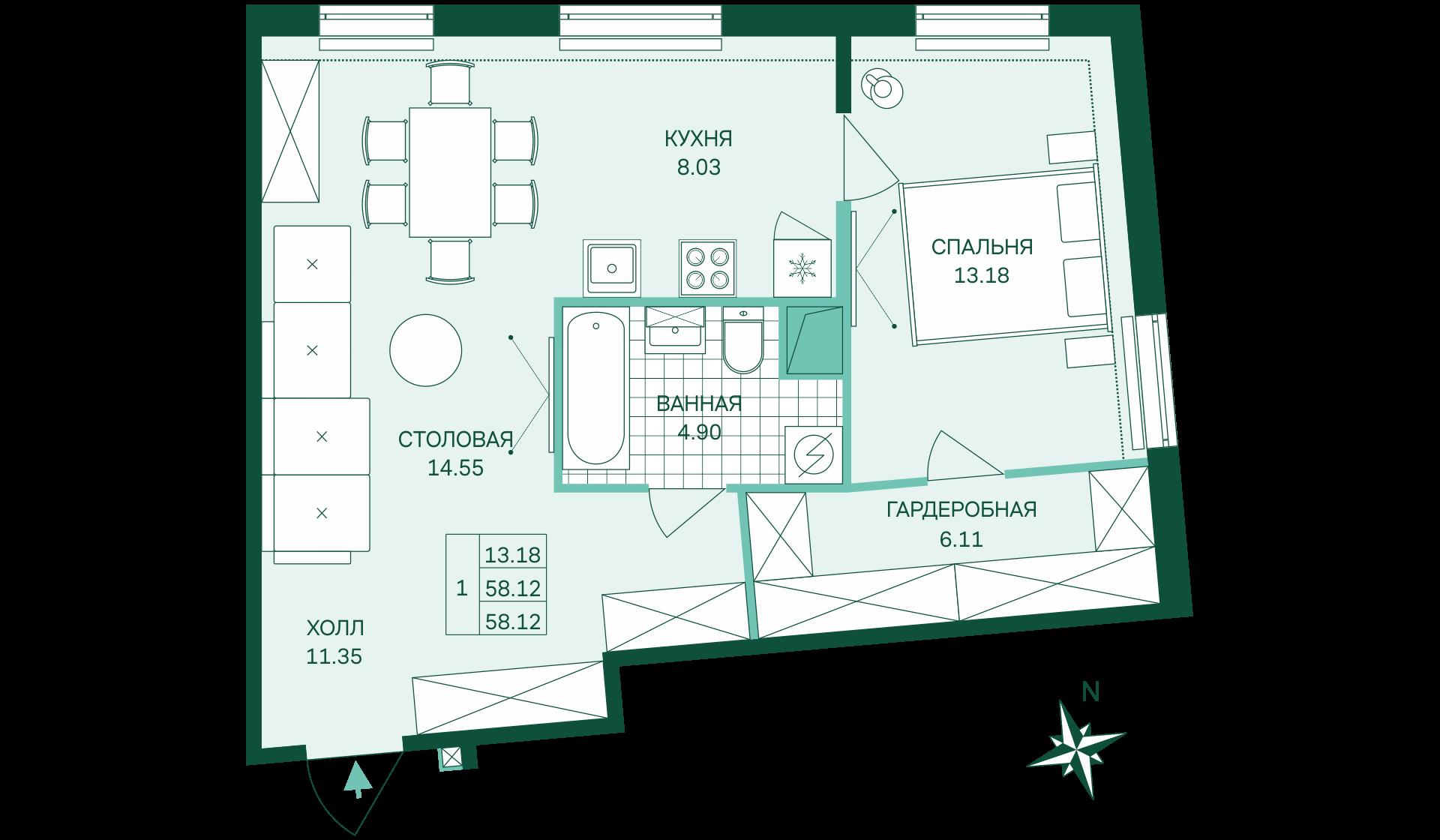 Планировка Однокомнатная квартира площадью 58.12 кв.м в ЖК «Skandi Klubb»