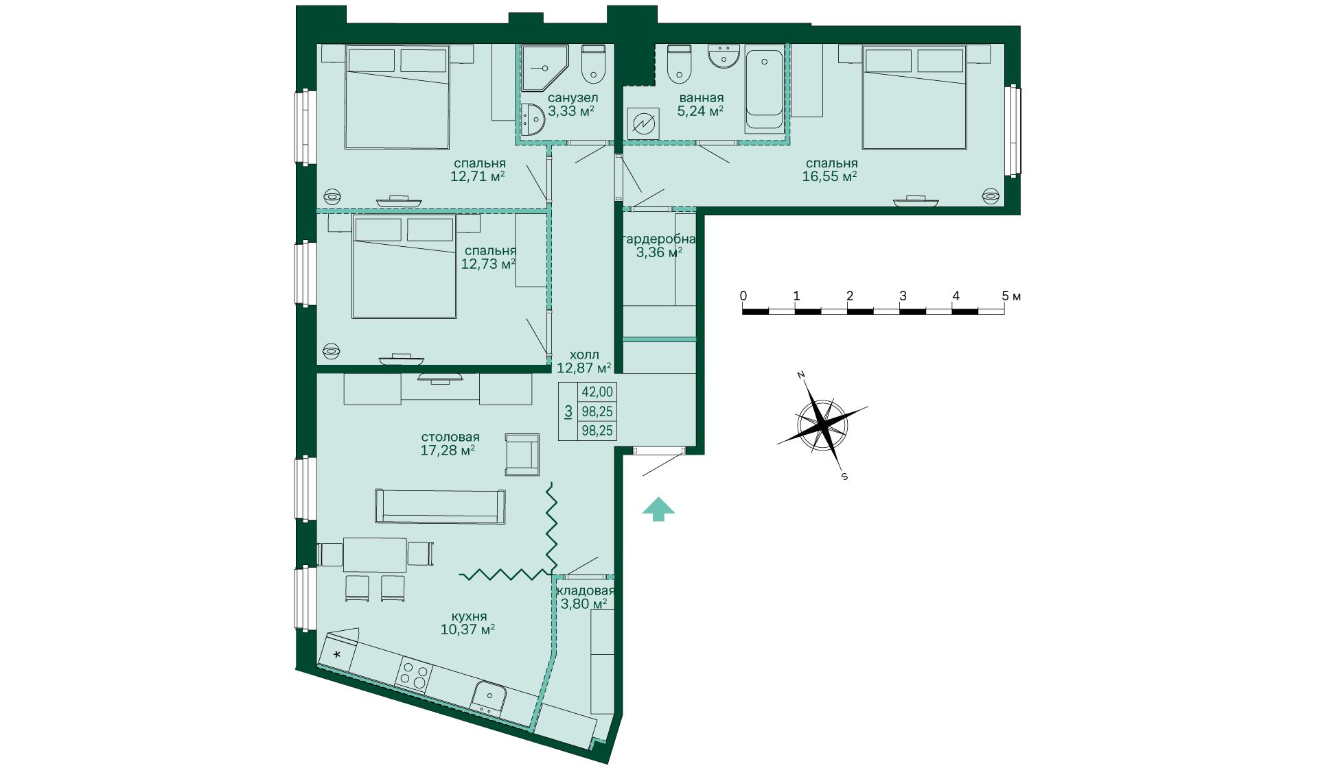 Планировка Трёхкомнатная квартира площадью 98.24 кв.м в ЖК «Skandi Klubb»