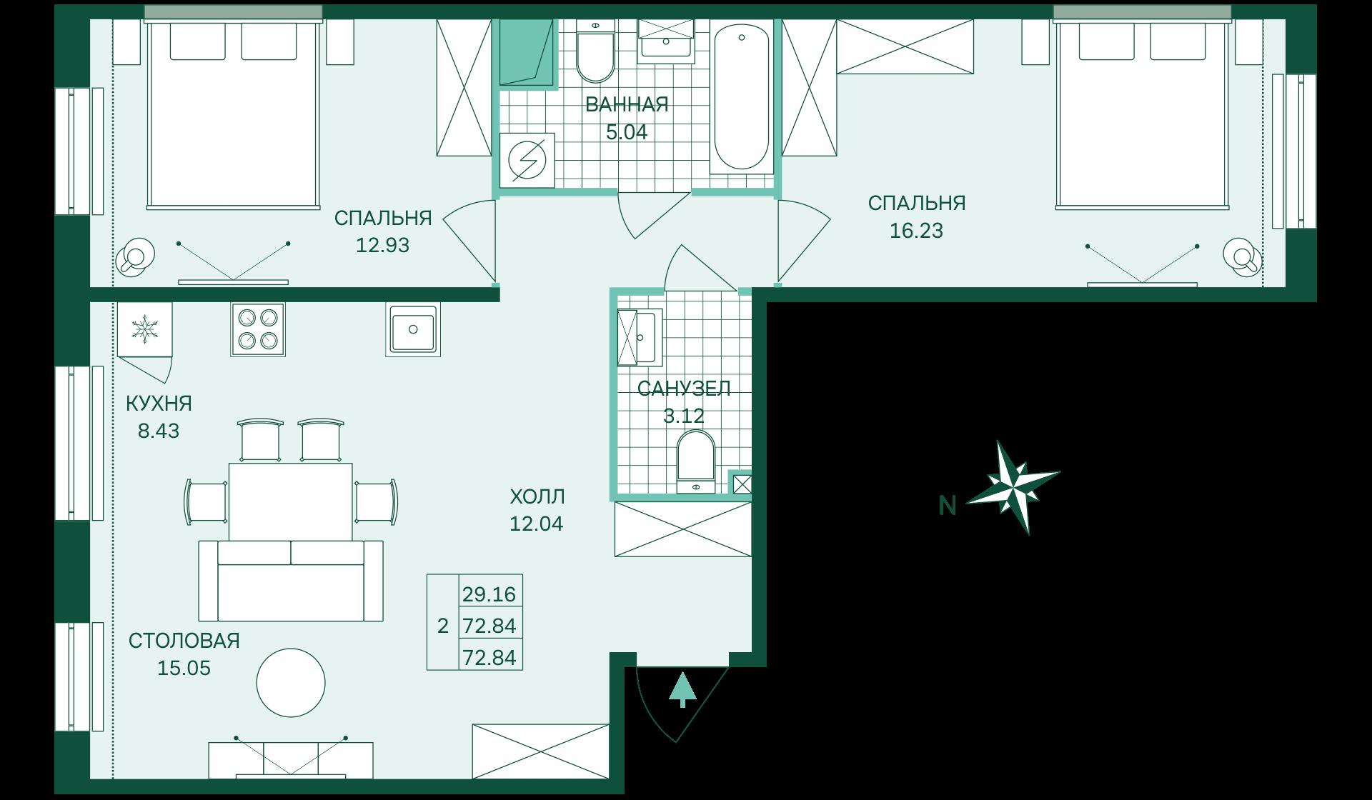 Планировка Двухкомнатная квартира площадью 72.84 кв.м в ЖК «Skandi Klubb»