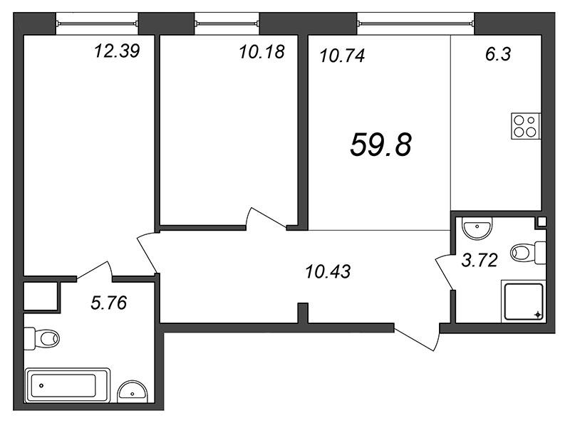 Планировка Трёхкомнатная квартира (Евро) площадью 59.55 кв.м в ЖК «Skandi Klubb»