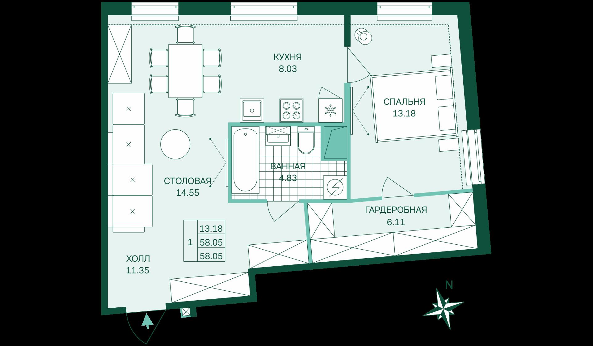 Планировка Однокомнатная квартира площадью 58.05 кв.м в ЖК «Skandi Klubb»