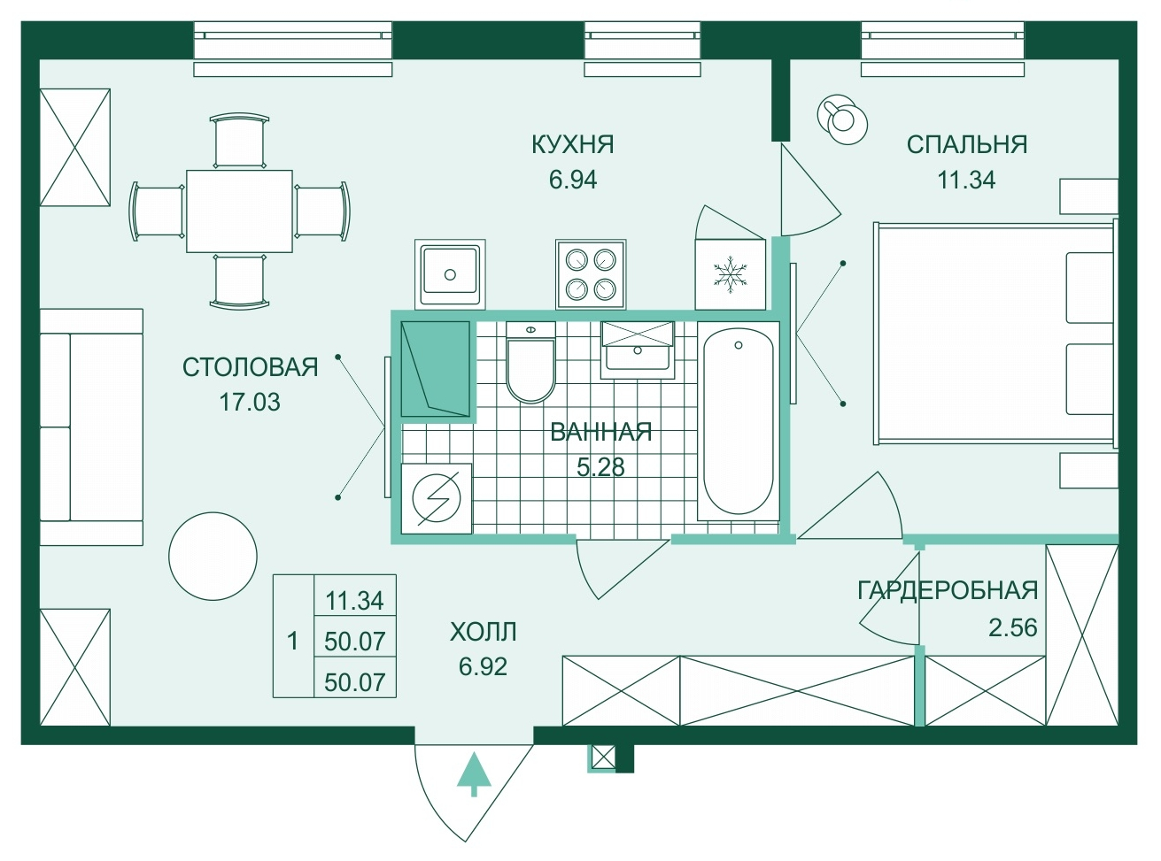Планировка Двухкомнатная квартира (Евро) площадью 50.07 кв.м в ЖК «Skandi Klubb»