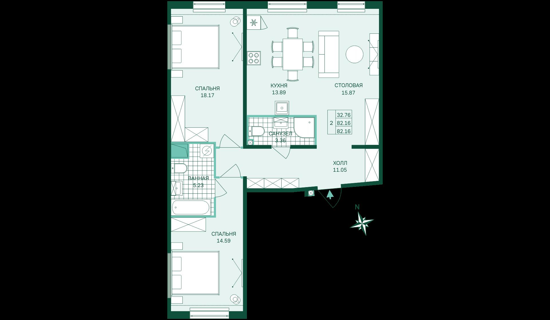 Планировка Двухкомнатная квартира площадью 82.16 кв.м в ЖК «Skandi Klubb»
