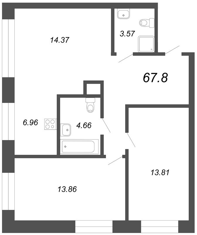 Планировка Трёхкомнатная квартира (Евро) площадью 67.8 кв.м в ЖК «Skandi Klubb»