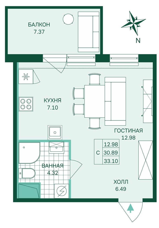 Планировка Студия площадью 33.1 кв.м в ЖК «Skandi Klubb»