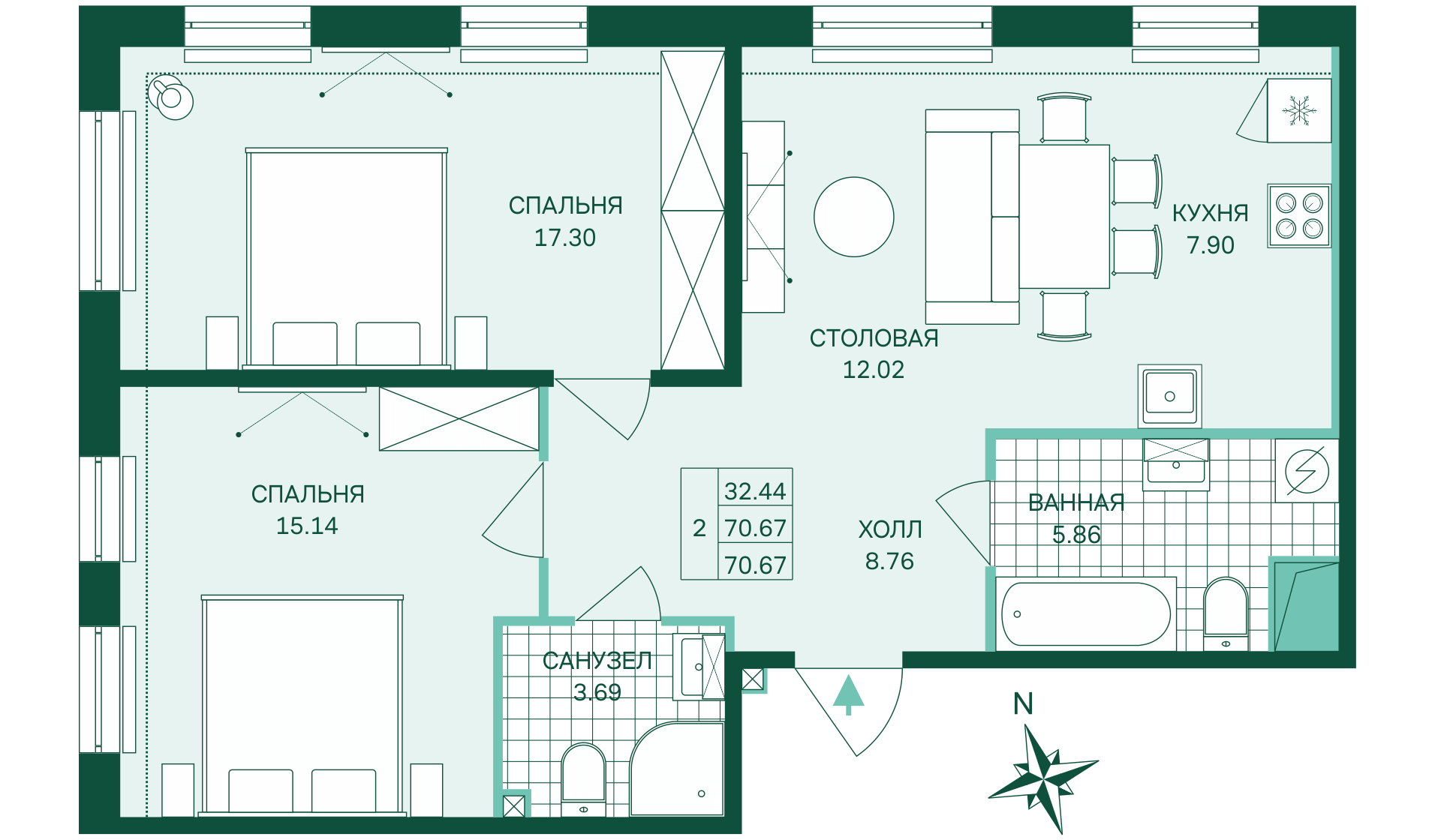 Планировка Двухкомнатная квартира площадью 70.67 кв.м в ЖК «Skandi Klubb»