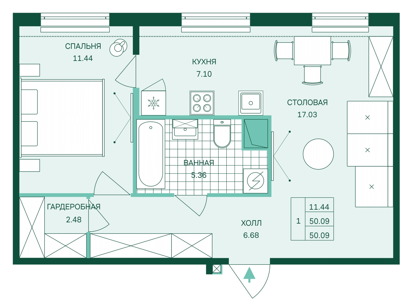 Планировка Двухкомнатная квартира (Евро) площадью 50.09 кв.м в ЖК «Skandi Klubb»