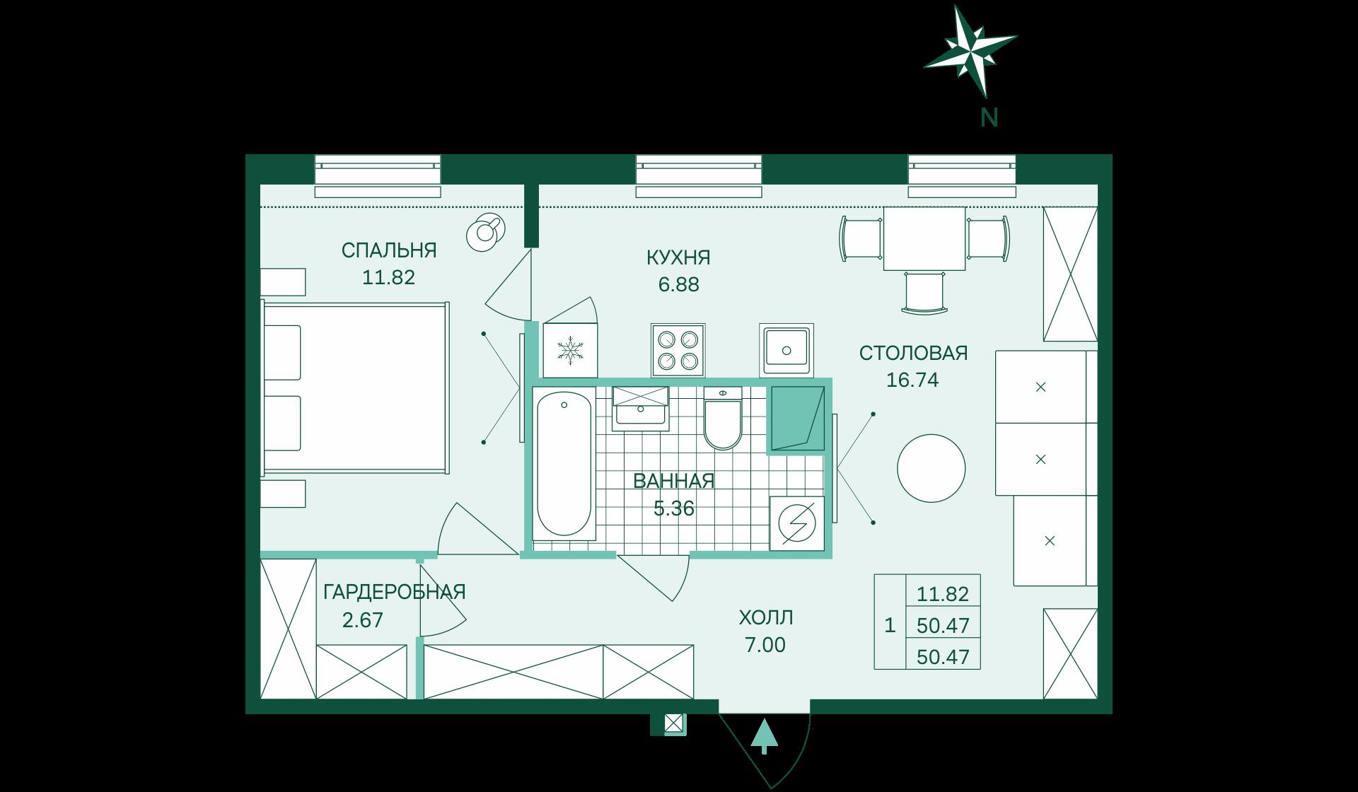 Планировка Однокомнатная квартира площадью 50.47 кв.м в ЖК «Skandi Klubb»
