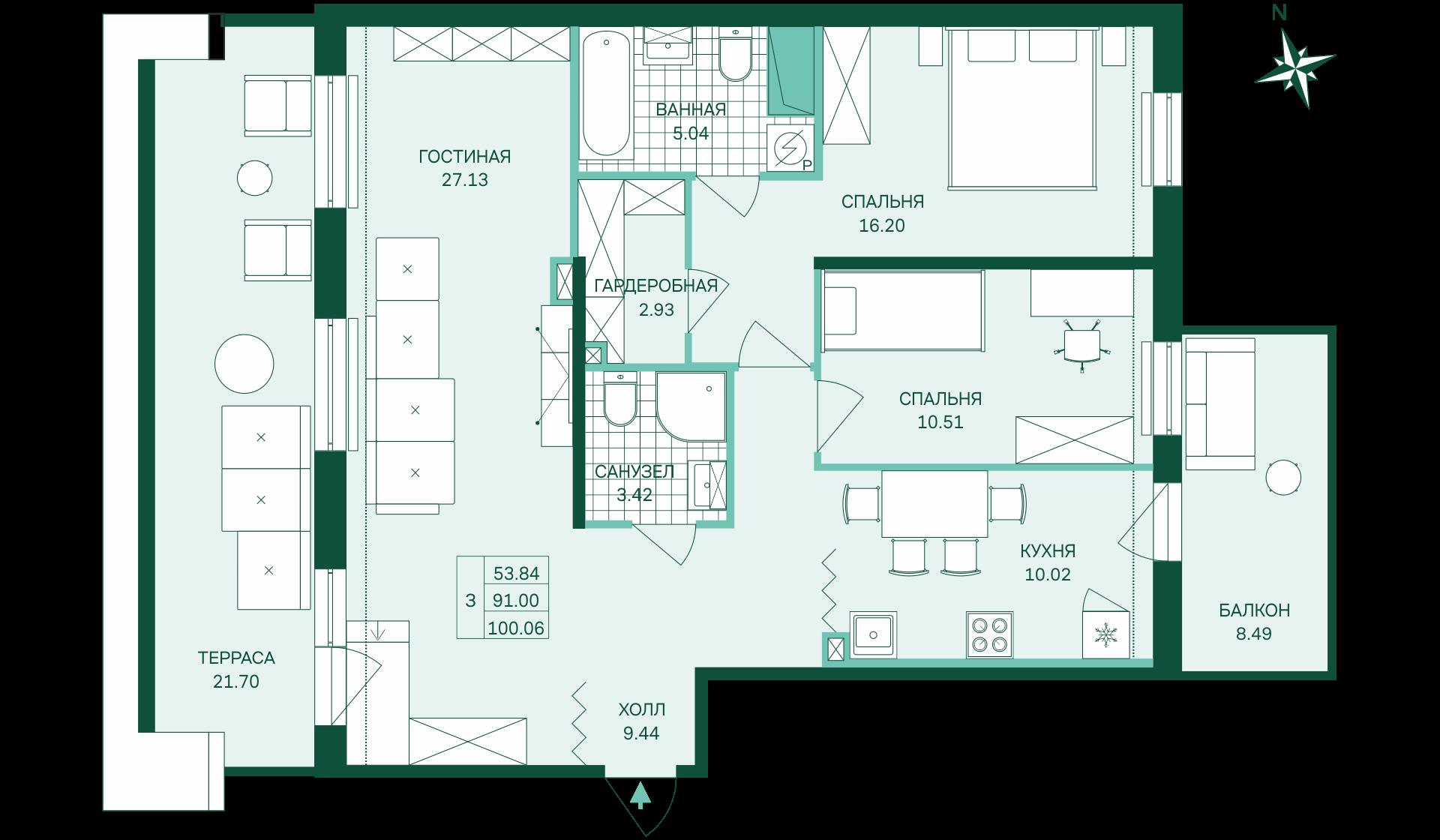 Планировка Трёхкомнатная квартира площадью 100.06 кв.м в ЖК «Skandi Klubb»