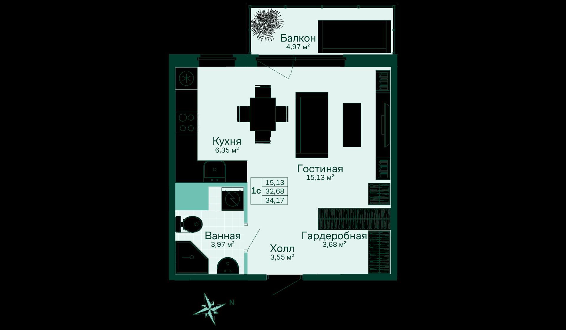 Планировка Студия площадью 34.17 кв.м в ЖК «Skandi Klubb»