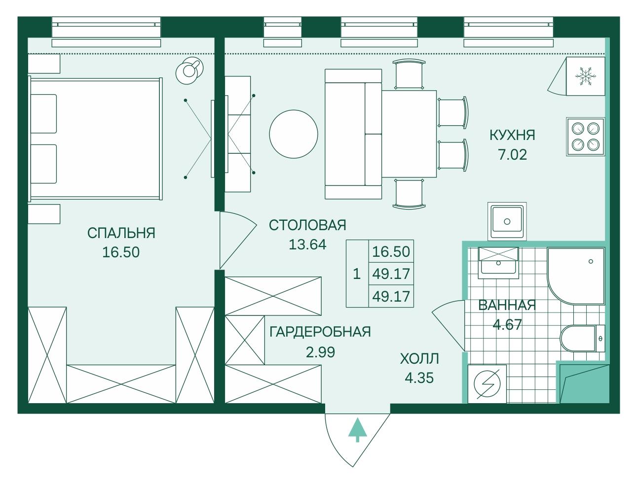 Планировка Двухкомнатная квартира (Евро) площадью 49.17 кв.м в ЖК «Skandi Klubb»