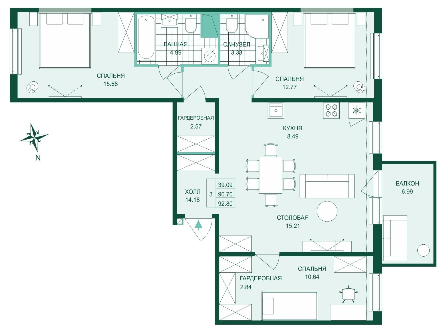 Планировка Четырёхкомнатная квартира (Евро) площадью 92.8 кв.м в ЖК «Skandi Klubb»