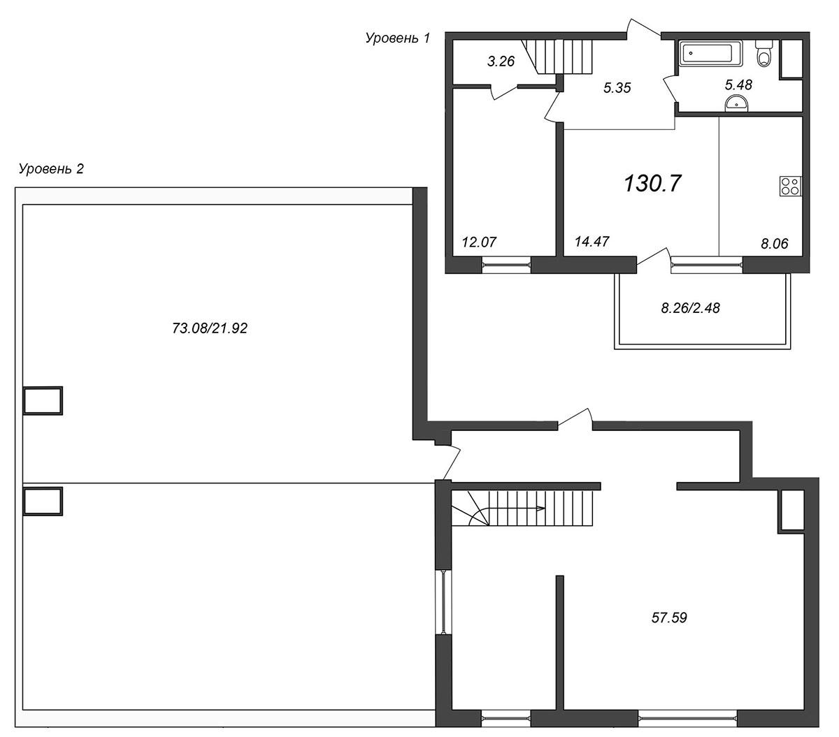 Планировка Двухкомнатная квартира площадью 134.85 кв.м в ЖК «Skandi Klubb»