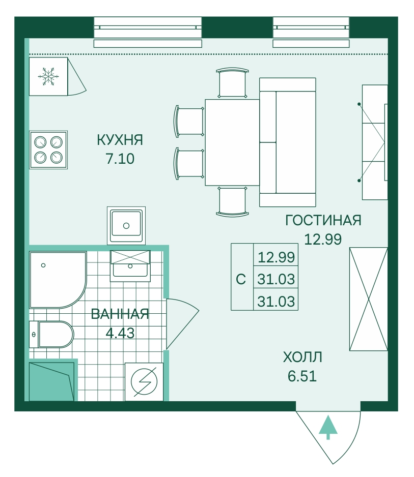 Планировка Студия площадью 31.03 кв.м в ЖК «Skandi Klubb»