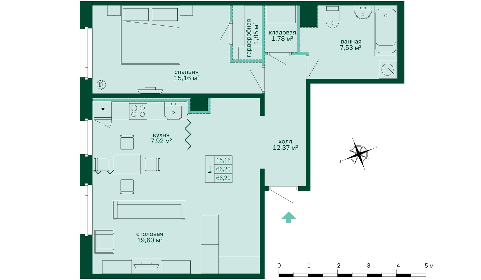 Планировка Однокомнатная квартира площадью 66.02 кв.м в ЖК «Skandi Klubb»