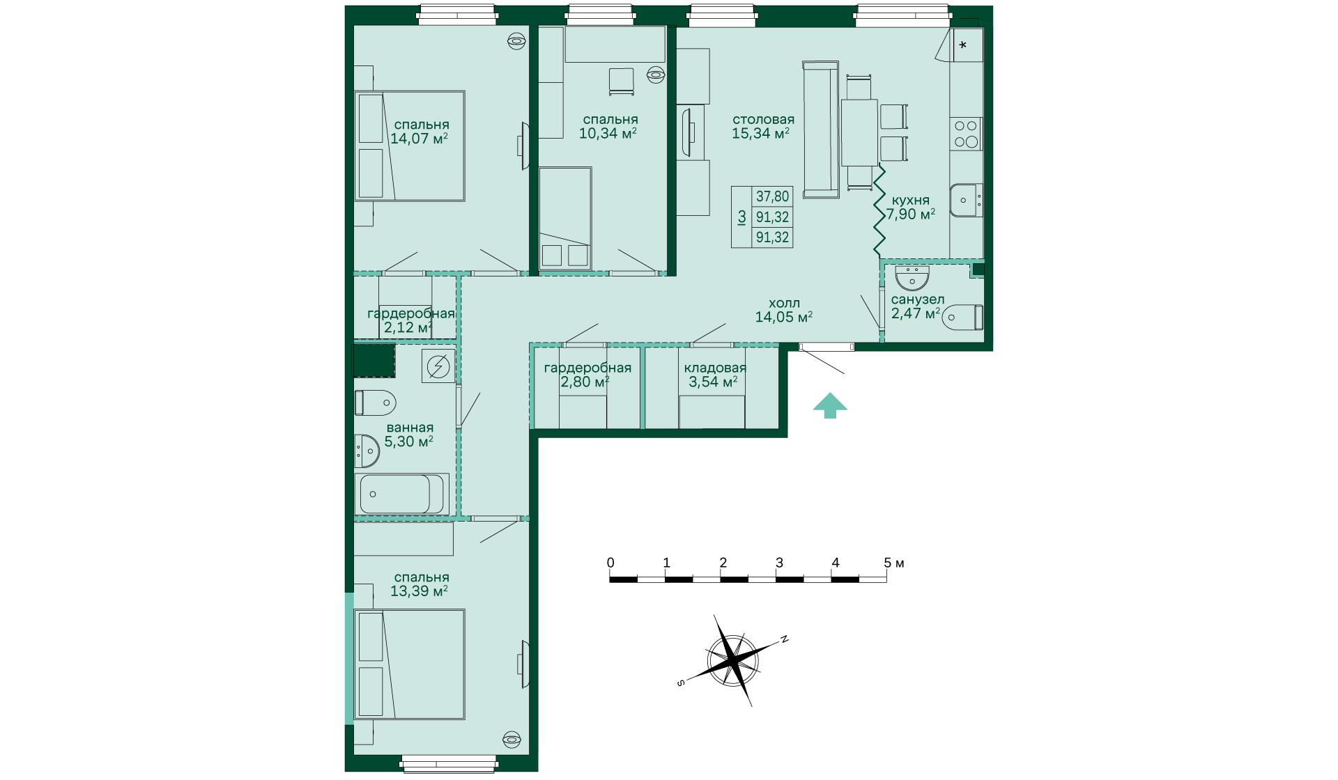 Планировка Трёхкомнатная квартира площадью 91.32 кв.м в ЖК «Skandi Klubb»