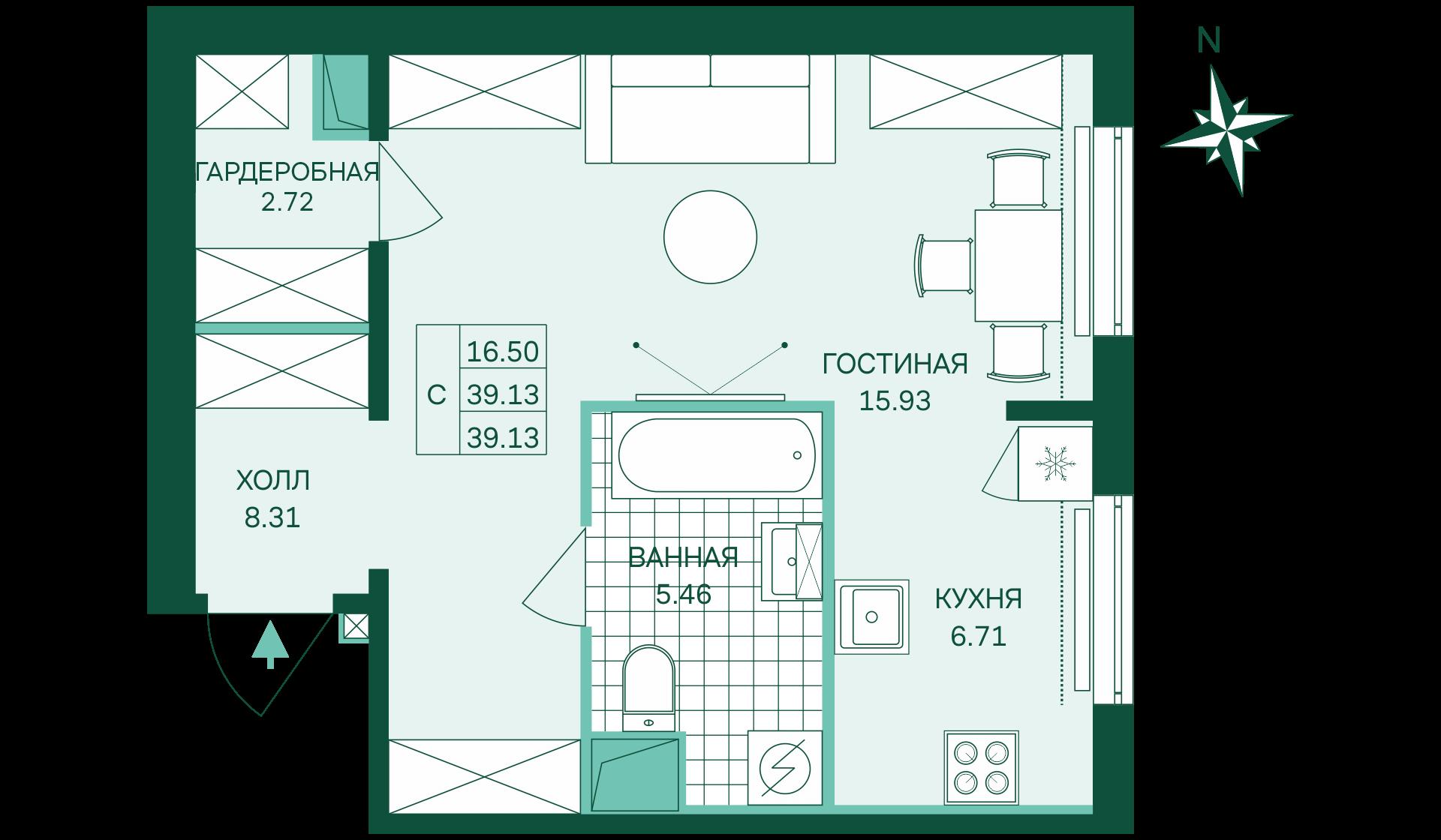 Планировка Студия площадью 39.13 кв.м в ЖК «Skandi Klubb»