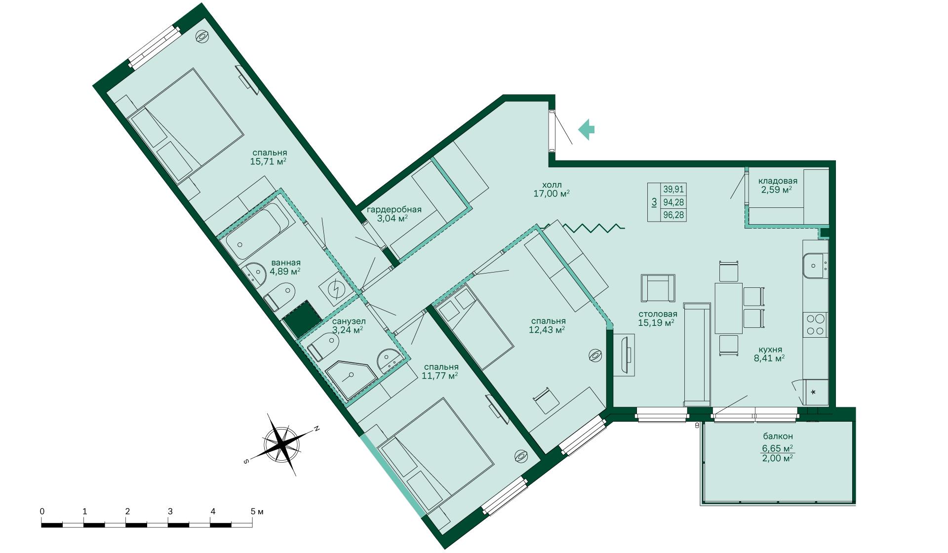 Планировка Трёхкомнатная квартира площадью 96.27 кв.м в ЖК «Skandi Klubb»