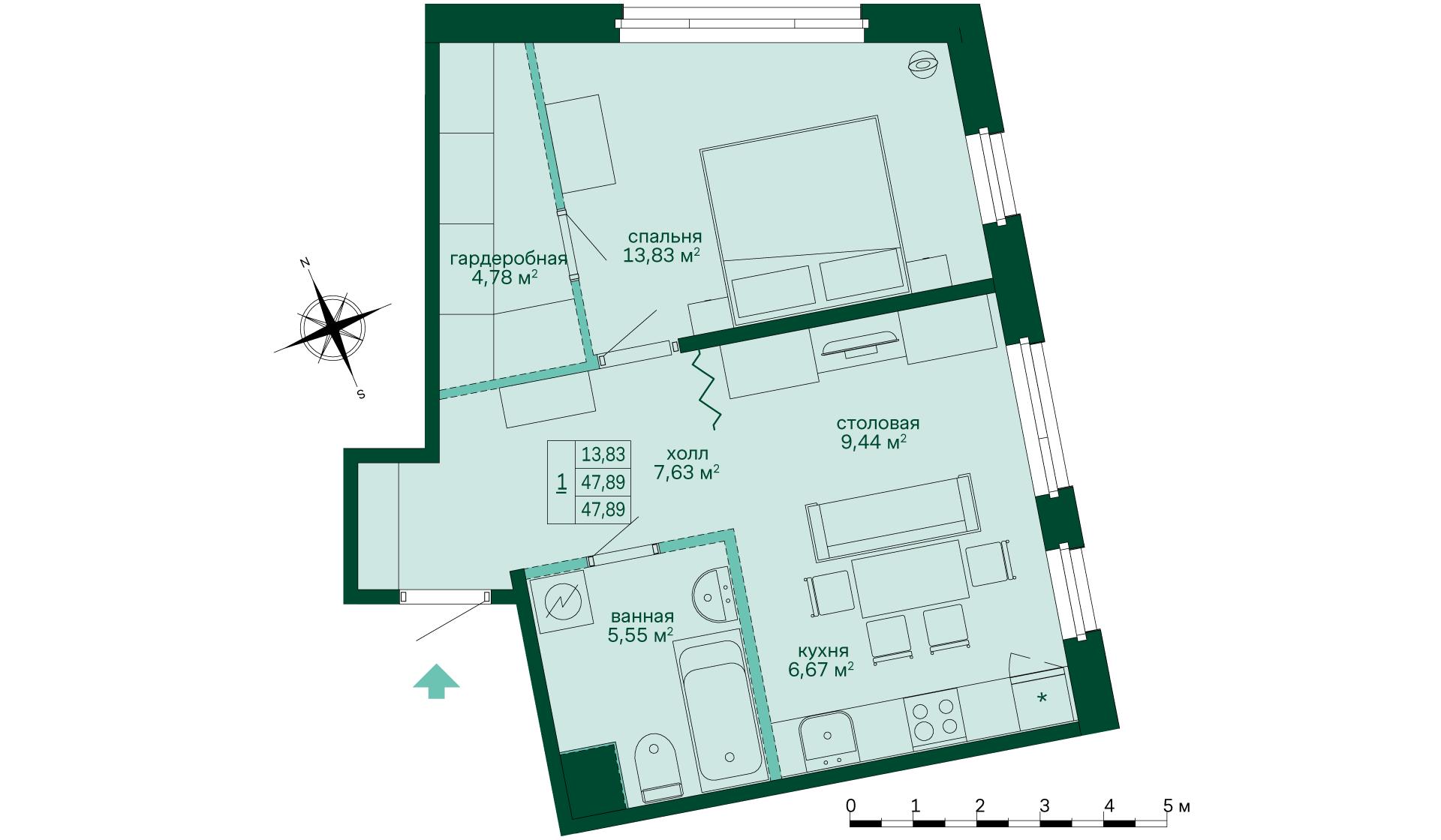 Планировка Однокомнатная квартира площадью 48.05 кв.м в ЖК «Skandi Klubb»
