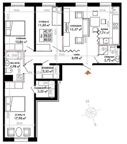 Планировка Четырёхкомнатная квартира (Евро) площадью 90.05 кв.м в ЖК «Skandi Klubb»