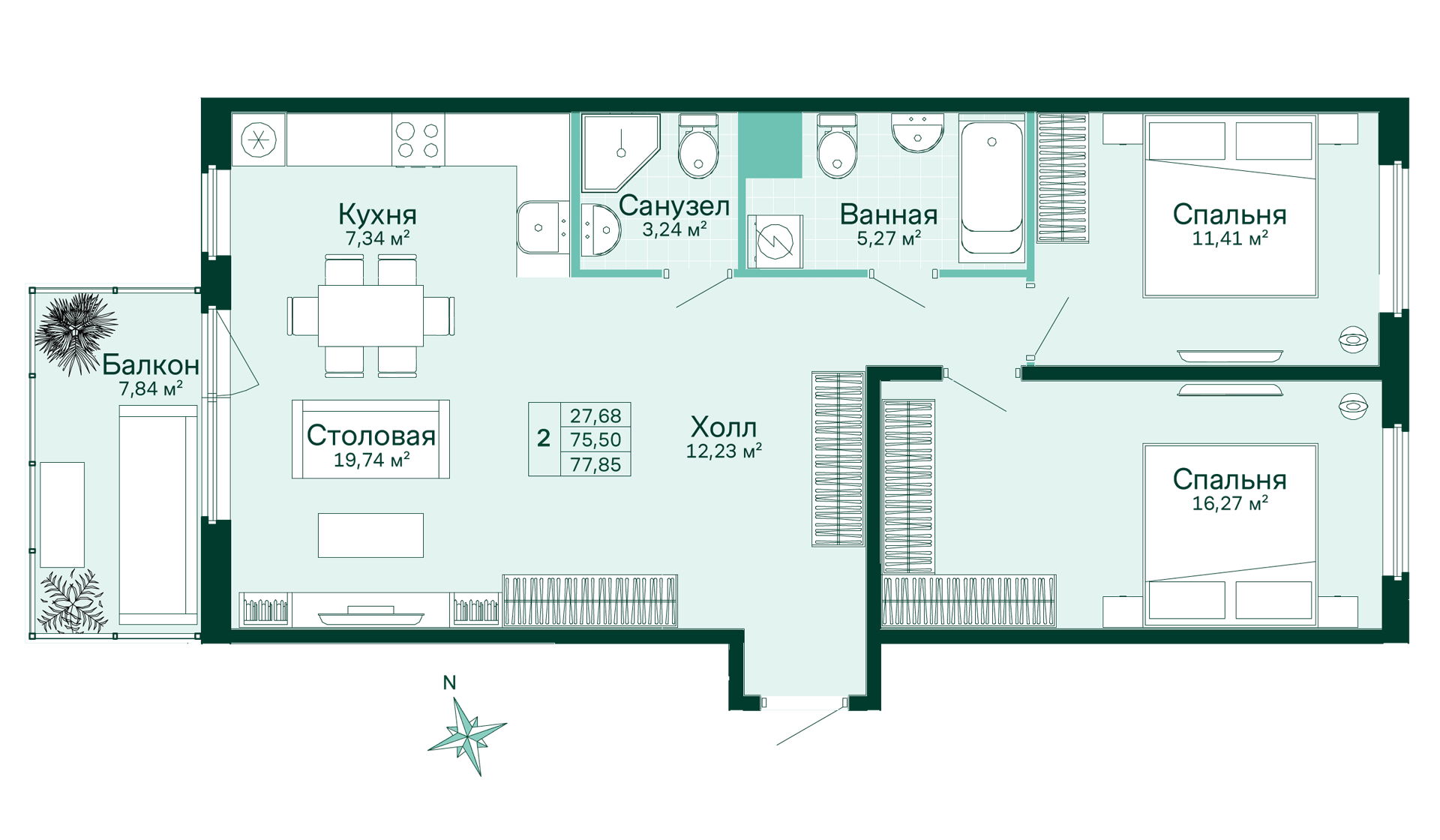 Планировка Студия площадью 34.76 кв.м в ЖК «Skandi Klubb»