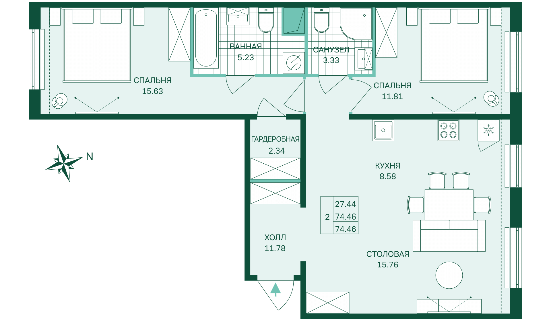 Планировка Двухкомнатная квартира площадью 74.46 кв.м в ЖК «Skandi Klubb»