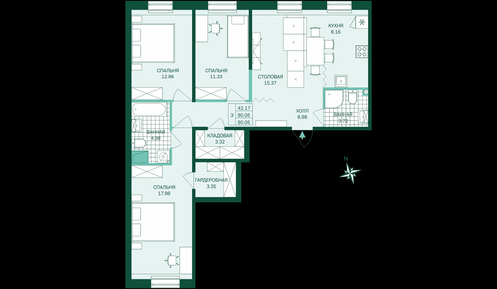 Планировка Трёхкомнатная квартира площадью 90.05 кв.м в ЖК «Skandi Klubb»