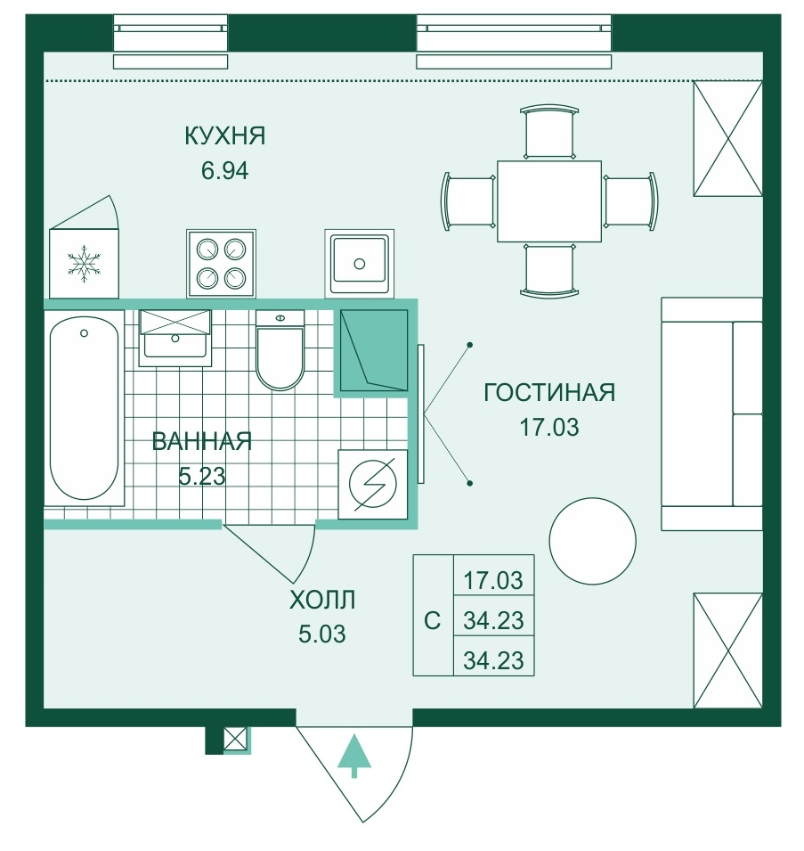 Планировка Студия площадью 34.23 кв.м в ЖК «Skandi Klubb»