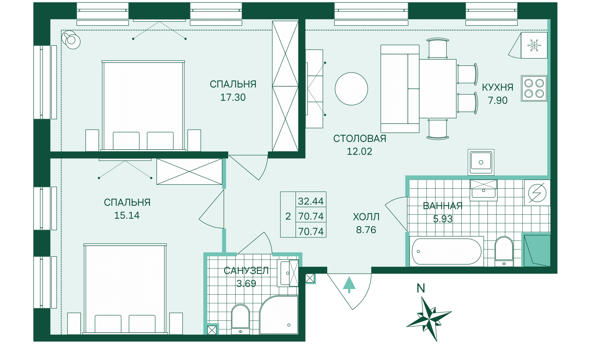 Планировка Двухкомнатная квартира площадью 70.74 кв.м в ЖК «Skandi Klubb»