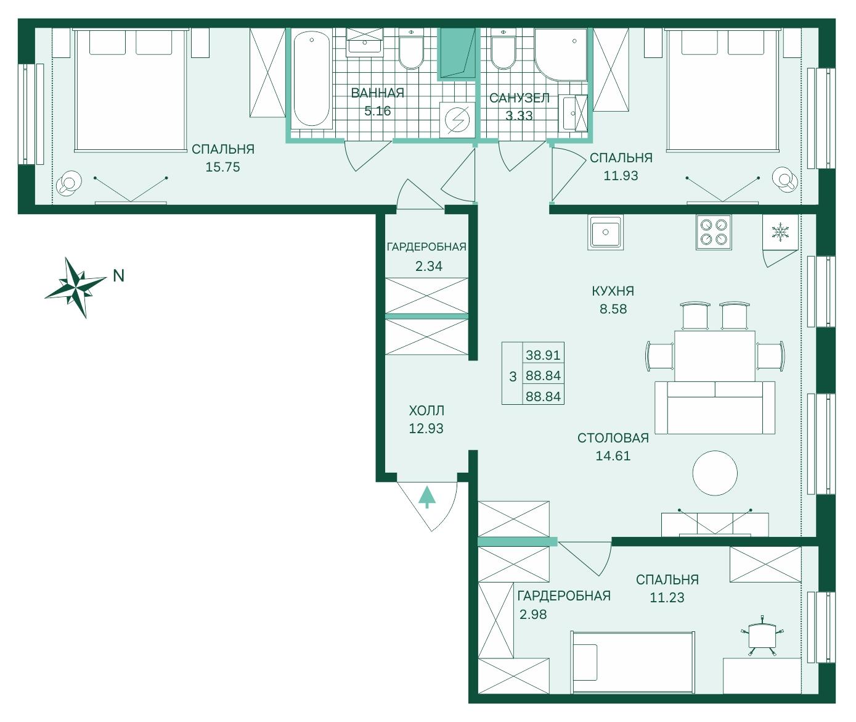 Планировка Четырёхкомнатная квартира (Евро) площадью 88.84 кв.м в ЖК «Skandi Klubb»