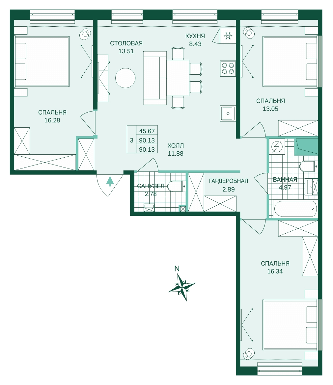 Планировка Четырёхкомнатная квартира (Евро) площадью 90.13 кв.м в ЖК «Skandi Klubb»