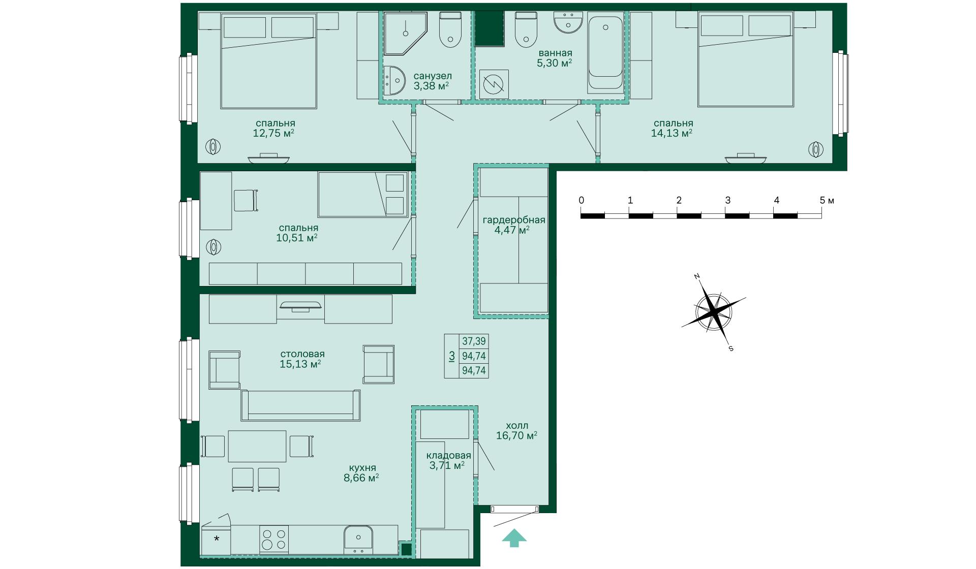 Планировка Трёхкомнатная квартира площадью 94.74 кв.м в ЖК «Skandi Klubb»