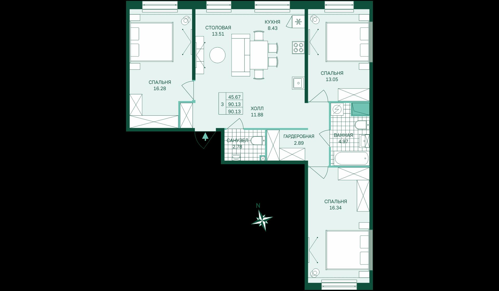 Планировка Трёхкомнатная квартира площадью 90.13 кв.м в ЖК «Skandi Klubb»