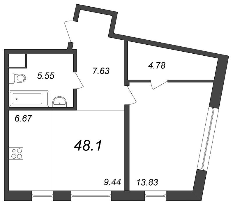 Планировка Двухкомнатная квартира (Евро) площадью 48.05 кв.м в ЖК «Skandi Klubb»