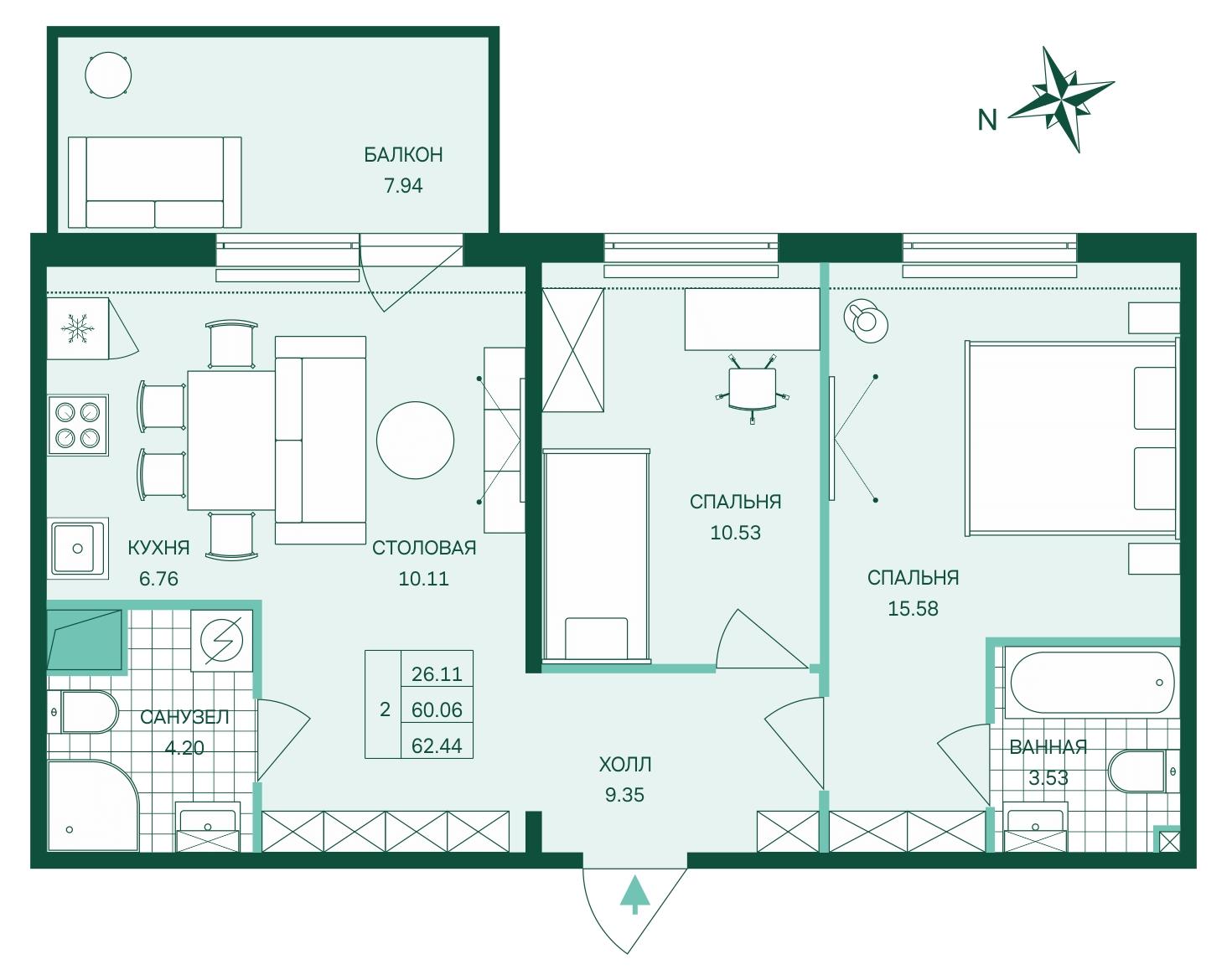 Планировка Трёхкомнатная квартира (Евро) площадью 62.44 кв.м в ЖК «Skandi Klubb»