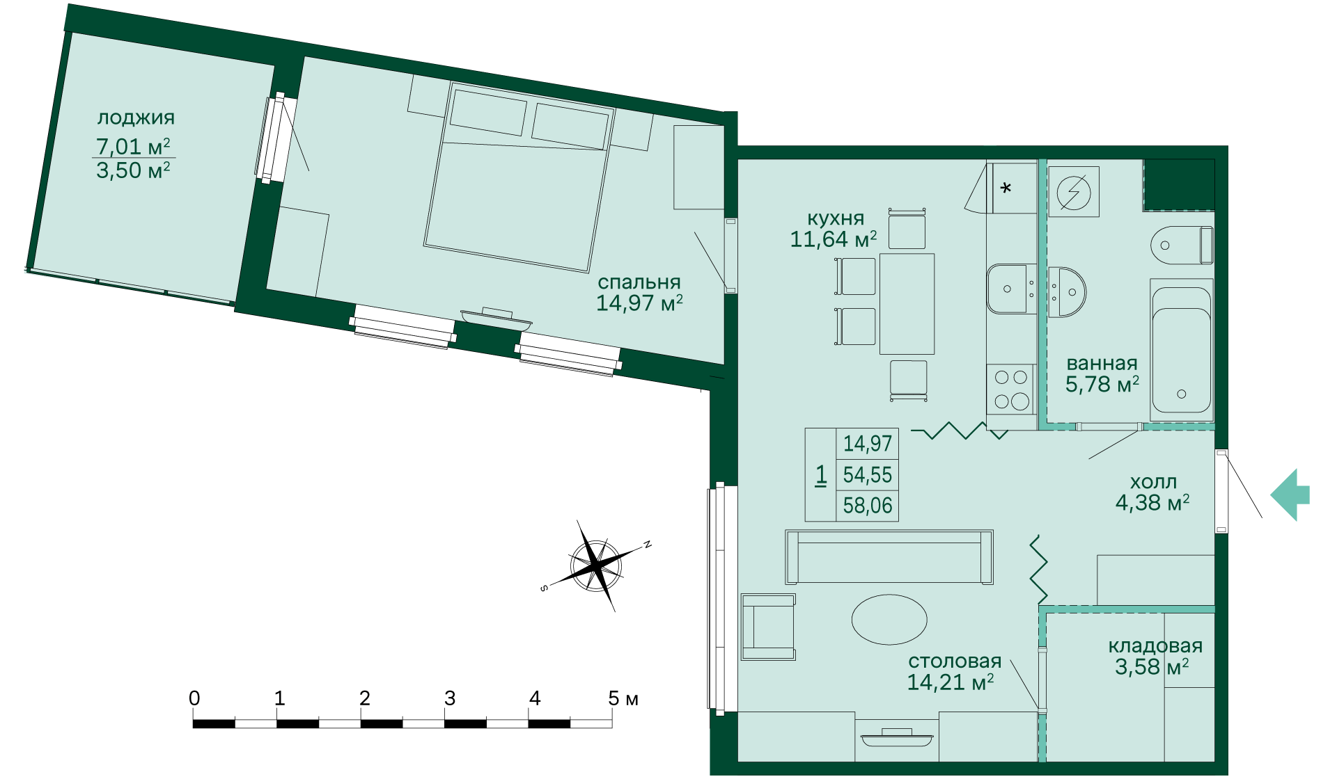 Планировка Однокомнатная квартира площадью 57.95 кв.м в ЖК «Skandi Klubb»