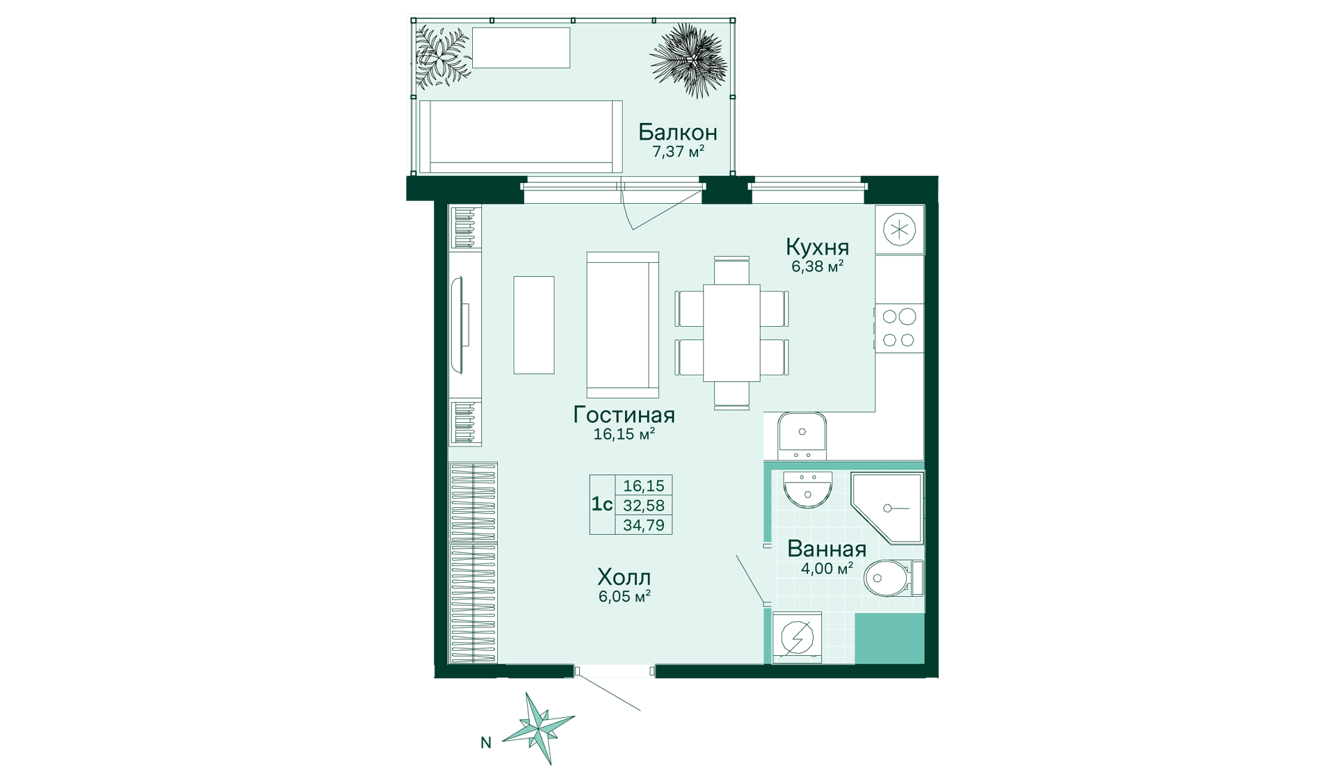 Планировка Студия площадью 34.79 кв.м в ЖК «Skandi Klubb»