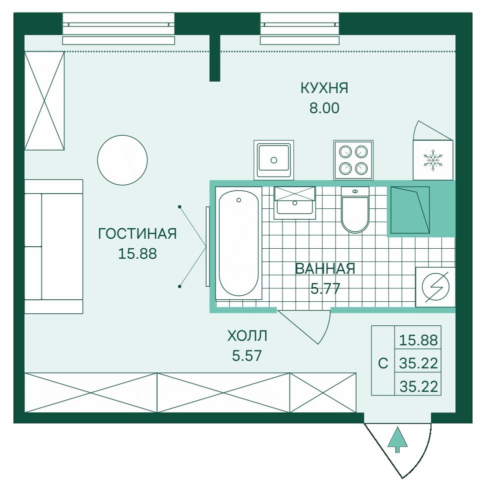 Планировка Студия площадью 35.22 кв.м в ЖК «Skandi Klubb»
