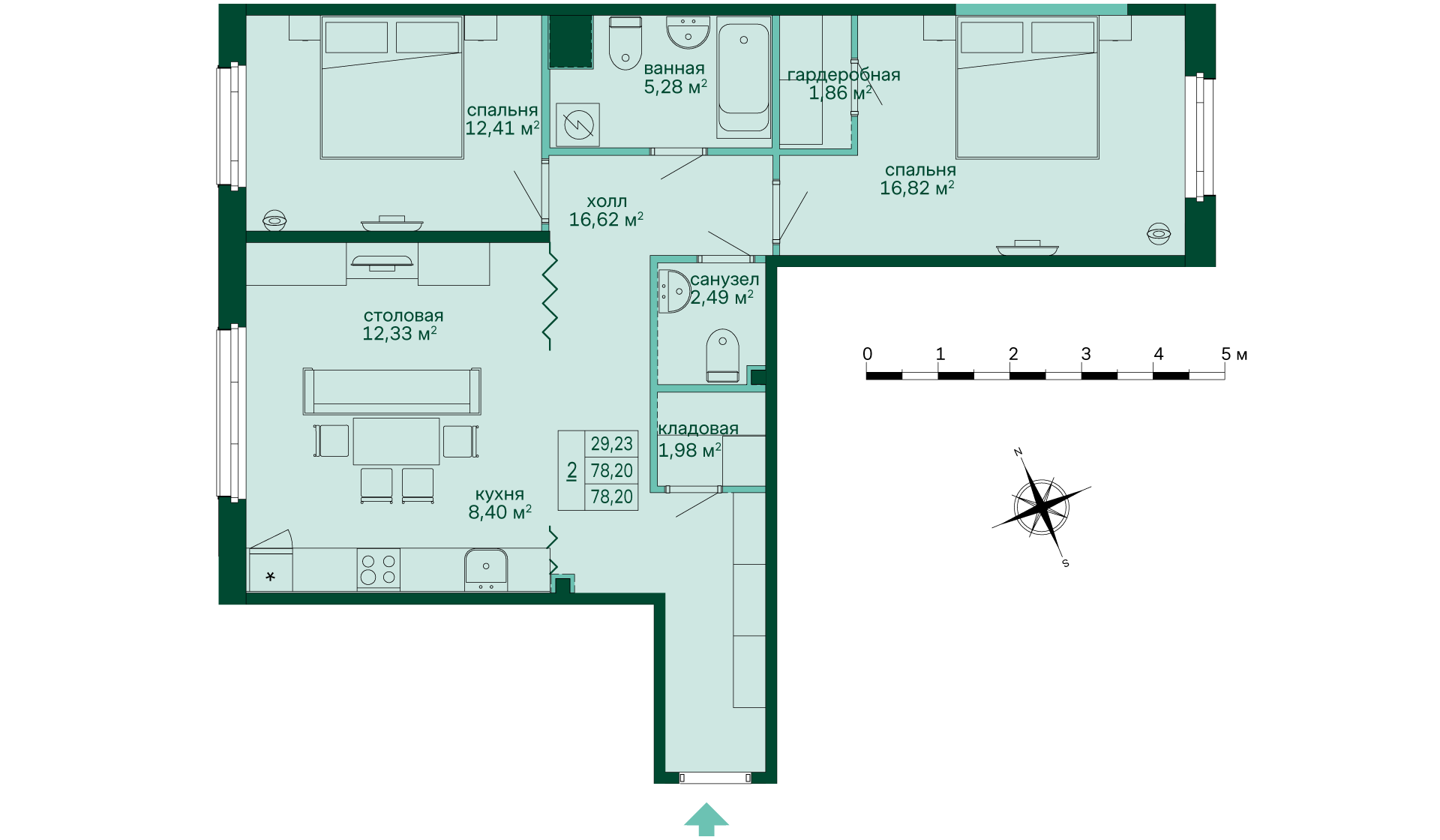 Планировка Двухкомнатная квартира площадью 78.42 кв.м в ЖК «Skandi Klubb»
