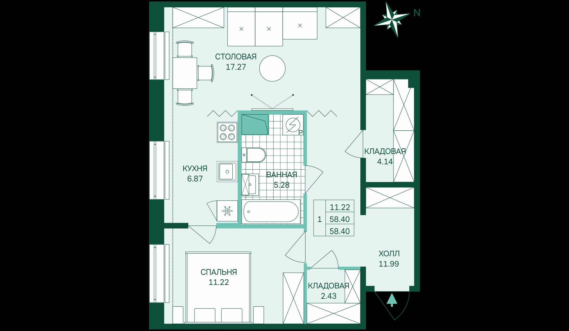 Планировка Однокомнатная квартира площадью 58.4 кв.м в ЖК «Skandi Klubb»