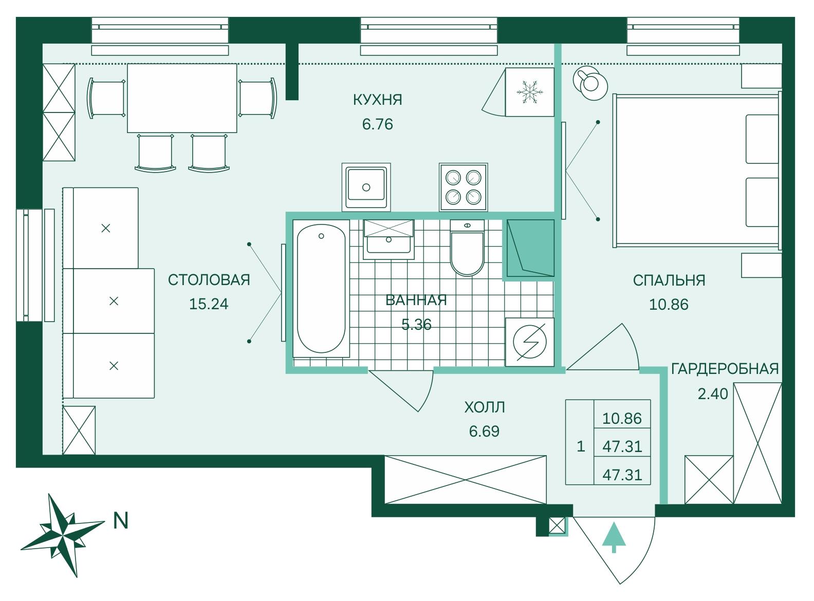Планировка Двухкомнатная квартира (Евро) площадью 47.31 кв.м в ЖК «Skandi Klubb»